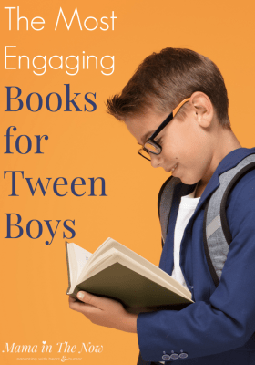 Finding engaging books for tween boys can be a struggle. Until this list! Look no further. This list of books for tween boys will keep your son's interest for hours and days. Book list for 10 year old boys. Books for 11 year old boys. Book recommendations for tweens. #BookList #BooksforTweenBoys #TweenBoys #BookRecommendations #TweenBoyInterests #ParentingTweens #MamaintheNow