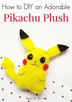 DIY Pikachu plush for kids of all ages. Pokemon felt craft for kids. Sewing craft for kids. Pokemon craft for kids. Pikachu craft for kids. DIY plush for kids. #pokemon #Pikachu #DIYPlush #CraftforKids #PokemonCraft #MamaintheNow