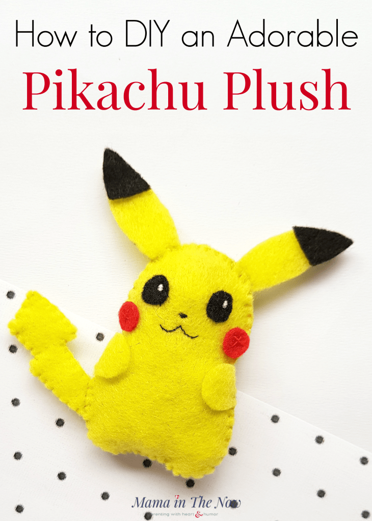 DIY Pikachu plush for kids of all ages. Pokemon felt craft for kids. Sewing craft for kids. Pokemon craft for kids. Pikachu craft for kids. DIY plush for kids. #pokemon #Pikachu #DIYPlush #CraftforKids #PokemonCraft #MamaintheNow