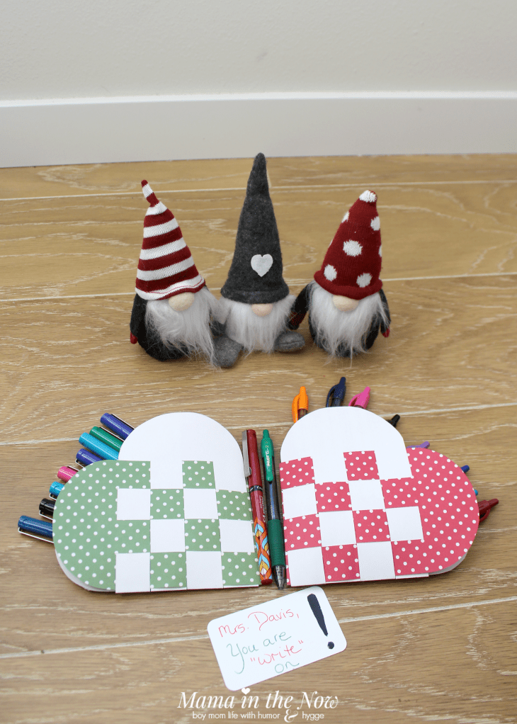 gnomes and Danish woven hearts filled with pens