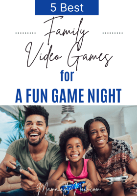 family playing video games together.