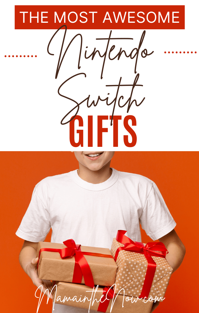 boy holding gifts for Nintendo Switch gifts