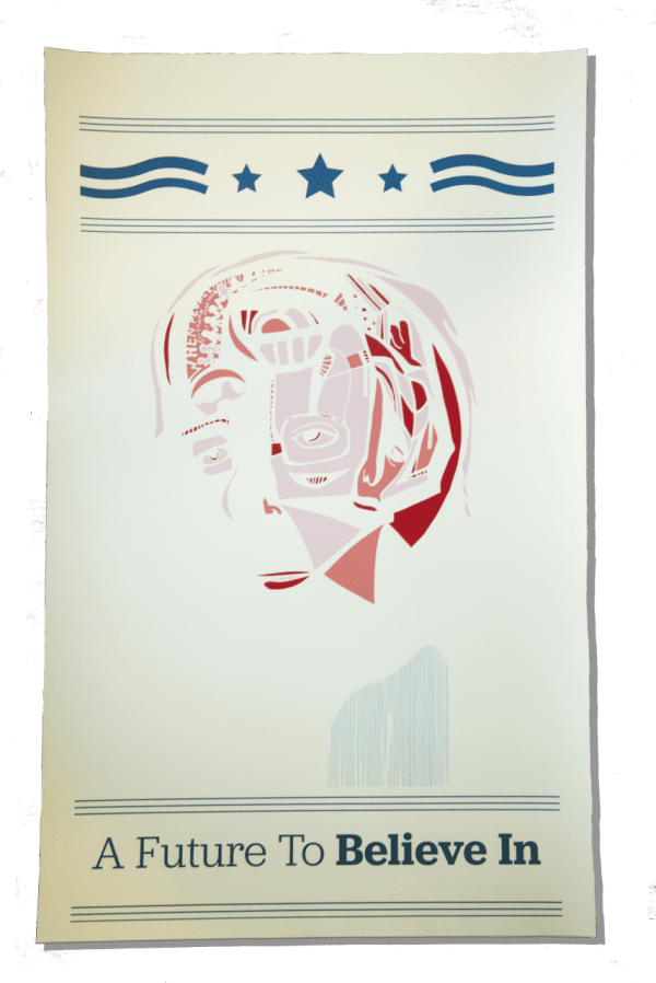 Surreal neo-expressionist abstract campaign poster of Bernie Sanders