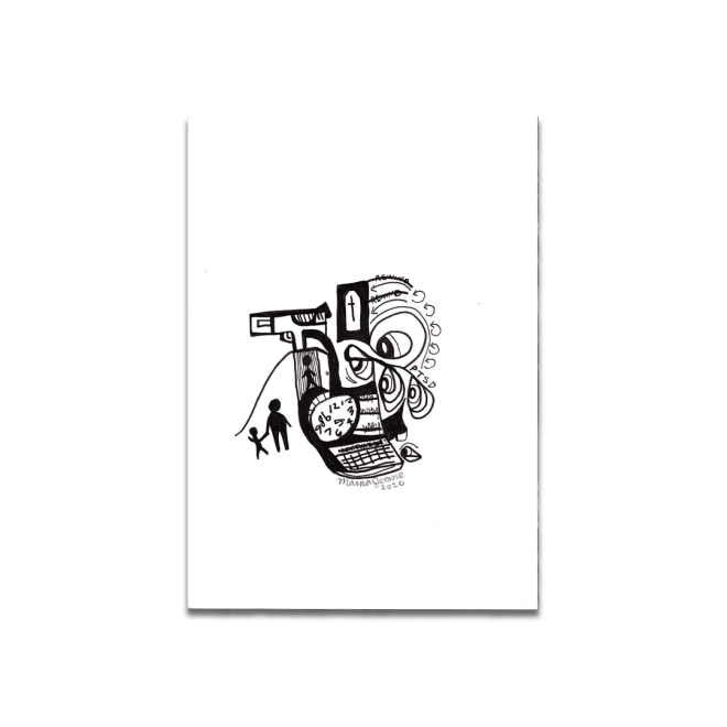 black and white drawing abstract ptsd