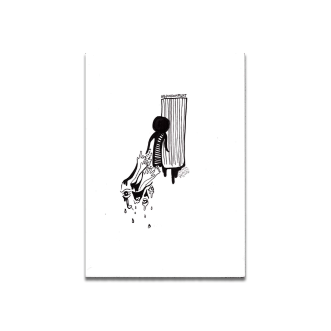 black and white drawing eerie