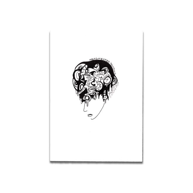 black and white drawing abstract head