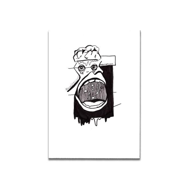 black and white drawing medication abstract graffiti