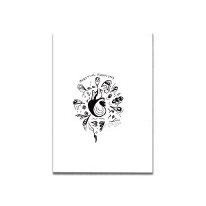 black and white drawing heart emotions