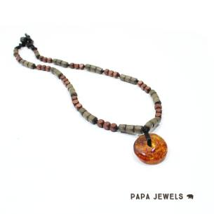Zen Mens amber necklace 003 - Mens amber teething fiddle necklace pendant ZEN