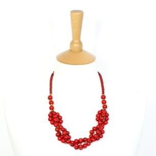 Tani necklace Red 001 - Tani Cherry red wooden  teething nursing fiddle necklace