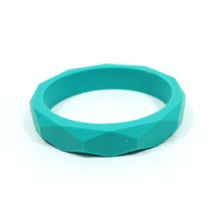 Turq bangle - GEOMETRIC silicone teething bangle bracelet Turquoise