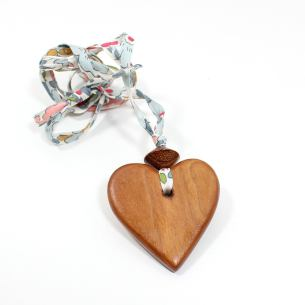 Apple heart Liberty teal - Natural wood Heart Teething  teething nursing fiddle necklace pendant on Liberty teal blue fabric cord