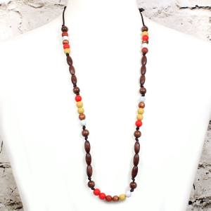 Elements Fired earth 003 - Red earth Silicone wood teething nursing necklace