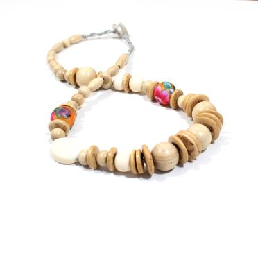Manuhiki light 1 - Manuhiki Natural light wood flower Floral teething nursing necklace
