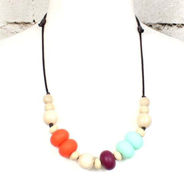 Orange mint silicone teething necklace 3 - Gilly silicone teething necklace Orange Mint BEACH STRIPES