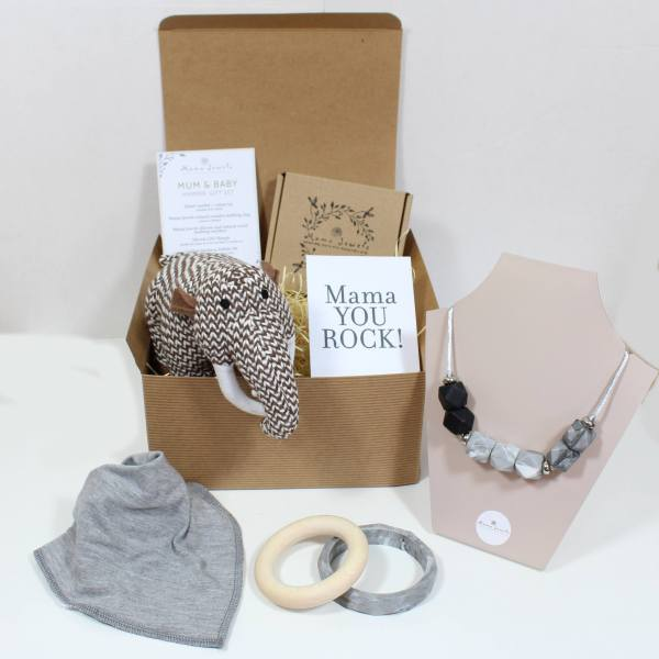 MAMMOTH HAMPER - Mum and baby gift teething hamper Calming grey and Woolly Mammoth toy