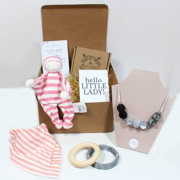 PINK COMFROTER HAMPER - Mum and baby gift teething hamper baby girl Pink striped comforter