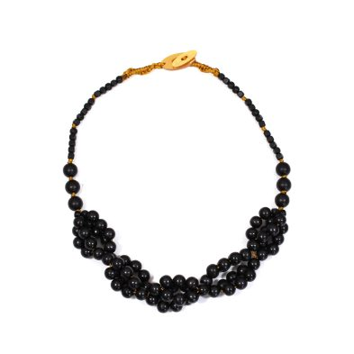 Tani jet black wooden baby proof necklace 004 - Tani Jet black wooden  teething nursing fiddle necklace