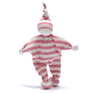 pink buddy - Organic cotton Baby comforter comfort toy Baby pink stripes