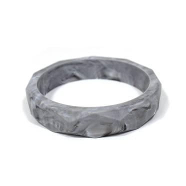 Marble grey silicone teething bangle geometric - GEOMETRIC silicone teething bangle bracelet Marble grey
