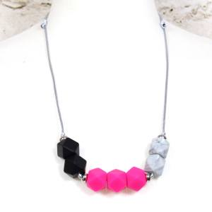 GEO PINK TEETHING NECKLACE 2 - Bright pink and marble GEO BEADS silicone teething necklace