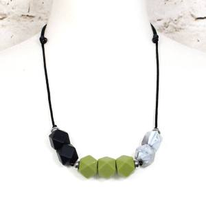 GEO WHEATGRASS TEETHING NECKLACE 2 - Wheatgrass green GEO BEADS silicone teething necklace