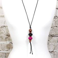 Teething necklace Baroque Magenta 4 - Baroque pendant silicone teething necklace Magenta purple