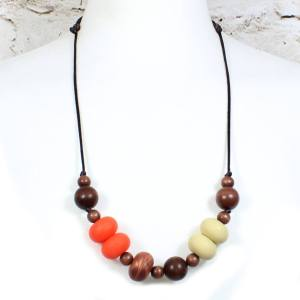 GILLY BURNT ORANGE COPPER 2 Copy - Gilly dark wood and silicone teething nursing necklace burnt orange#