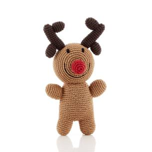 Rudolph rattle - Rudolph Reindeer fairtrade knitted toy baby rattle