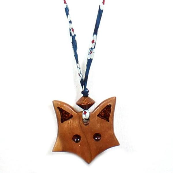 Fox on navy blue teething necklace 3 - Natural wood Fox  teething nursing fiddle necklace pendant on Liberty navy blue cord