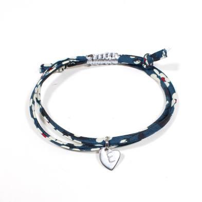 liberty stamped bracelet Navy blue 1 - Liberty print bracelet personalised initial - mustard