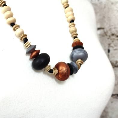 Anthropologist Bohemian Jet Copper 002 - Anthropologist Jet copper wood silicone teething necklace gift set