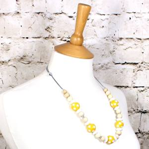 DOTTY YELLOW 2 - Dotty Yellow wood silicone teething nursing fiddle necklace