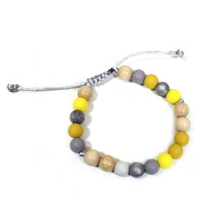 Elements Yellow mustard grey bracelet 1 - Elements Mustard yellow grey Silicone wood teething baby proof bracelet