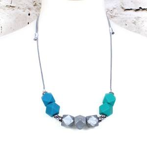 Turquoise silver 2018 2 - Turquoise silver GEO BEADS silicone teething necklace