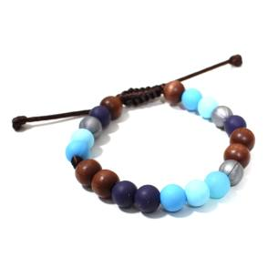 blue skies teething bracelet 2 - Elements Blue skies Silicone wood teething baby proof bracelet