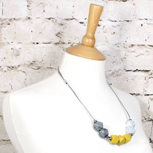 mustard marble silver 2018 1 - Mustard yellow grey GEO BEADS silicone teething necklace