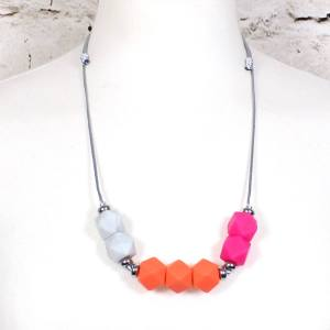 neon marble 2018 3 - NEON pink orange GEO BEADS silicone teething necklace