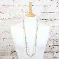 Elements PASTEL RAINBOW LIGHT WOOD 2 - Elements Pastel Rainbow Silicone light wood teething nursing necklace