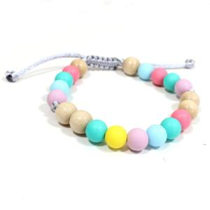 Elements PASTEL RAINBOW LIGHT WOOD BRACELET 1 - Elements Pastel Rainbow Silicone light wood teething baby proof bracelet