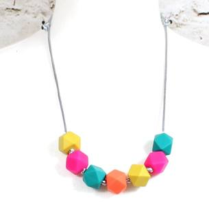 GEO beads Summer bright 2 - Summer bright GEO BEADS silicone teething necklace