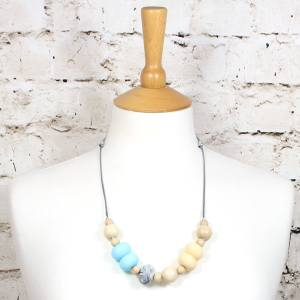 Gilly Pastels Blue teething necklace 1 - Gilly silicone teething necklace Baby Blue pastel