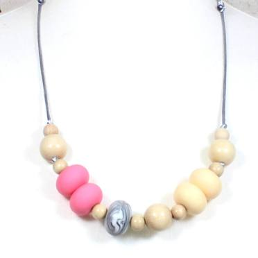 Gilly Pastels Pink teething necklace 2 - Gilly silicone teething necklace Pale Pink pastel