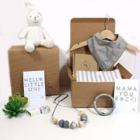 Bunny calming grey hamper - Mum and baby gift hamper set for baby girl or boy calming grey bunny