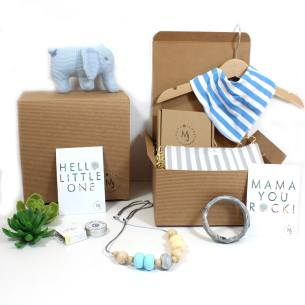 Mum and baby boy hamper blue knitted elephant - Mum and baby gift hamper set for baby boy knitted elephant blue