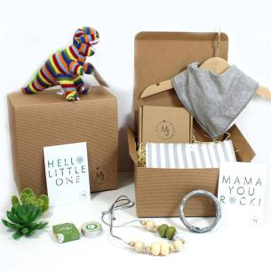 dinosaur hamper green and grey - Mum and baby gift hamper set for baby boy dinosaur