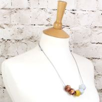GEO SS 2018 MUSTARD 1 - NEO Geometric silicone teething fiddle necklace Mustard Rose Gold