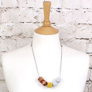GEO SS 2018 MUSTARD 2 - NEO Geometric silicone teething fiddle necklace Mustard Rose Gold