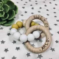 IMG 4876 1 - Personalised Pink, Mustard, Olive, Blue wooden silicone teething rattle