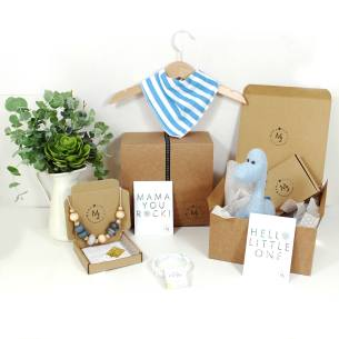 BLUE DINO HAMPER GREY NECKLACE 1 1 - Mum and baby gift hamper set for baby boy blue dinosaur